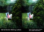 Girl in Garden Writing Letters